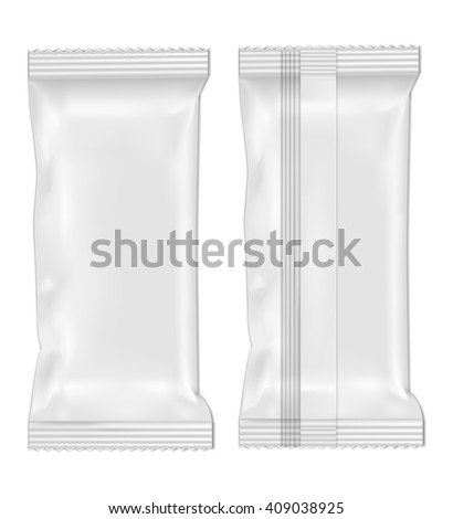 White blank foil food snack pack for chips, candy and other products. - stock vector