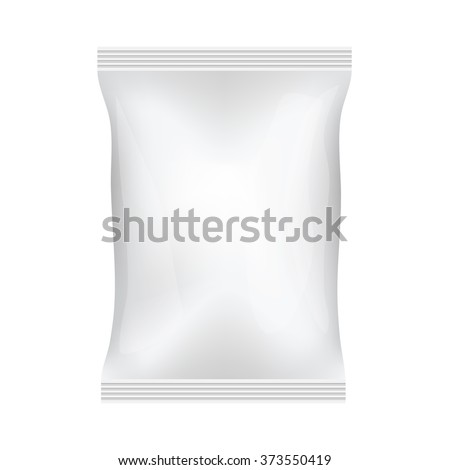 White Blank Foil Food Snack Sachet Bag Hang Slot Packaging For Coffee, Salt, Sugar, Spices, Sachet, Sweets, Chips, Cookies. Illustration Isolated. Mock Up Template Ready For Your Design. Vector EPS10