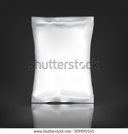 White Blank Foil pack . Plastic Pack Template for your design and branding. Mockup Foil Food Snack pack For Chips, Spices, Coffee, Salt, and other products. Plastic  - stock vector