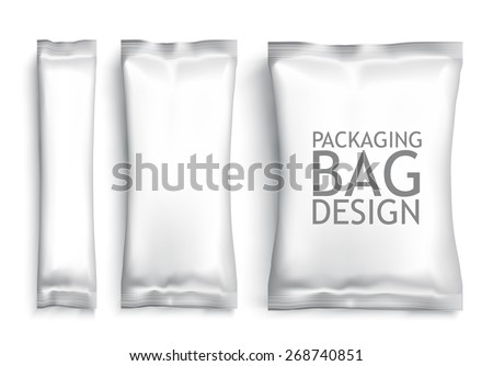 White Blank Foil pack . Plastic Pack Template for your design and branding. Vector - stock vector