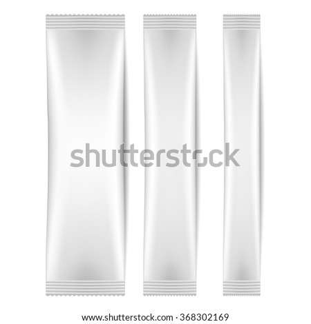 White Blank Foil Packaging Sachet Coffee, Salt, Sugar, Pepper Or Spices Stick Plastic Pack Ready For Your Design. - stock vector