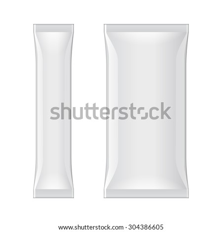 White Blank Foil Packaging Stick Medicine Drugs Or Chewing Gum, Coffee, Salt, Sugar, Spices, Sachet, Sweets, Candy. Isolated Mock Up Template Ready For Your Design. Product Packing Vector EPS10 - stock vector
