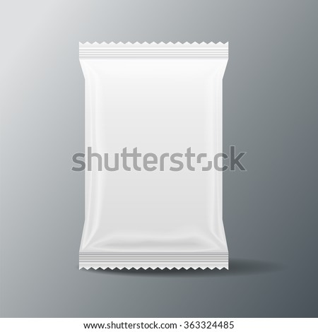 white Blank Food Bag Packaging , 3D ,vector - stock vector