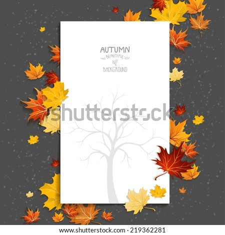 White blank on autumn background with maple leaves. Copy space. - stock vector