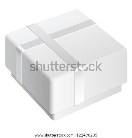 White blank Package Box. For gift. Vector illustration - stock vector