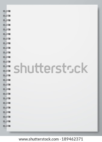 White Blank Page notebook  - stock vector