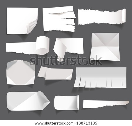 White blank paper messages isolated on background - stock vector