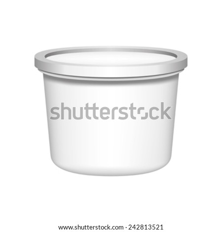 White blank plastic container for ice cream. - stock vector