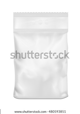 White blank plastic or paper washing powder packaging.