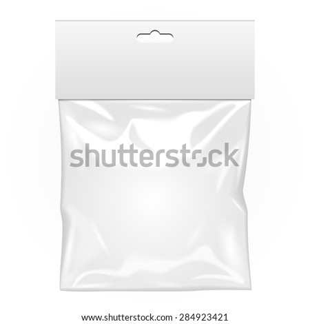 White Blank Plastic Pocket Bag. Transparent. With Hang Slot. Illustration Isolated On White Background. Mock Up Template Ready For Your Design. Vector EPS10 - stock vector