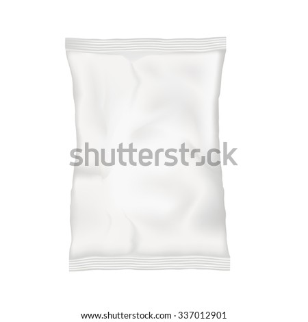 White blank pouch. Plastic pocket bag sachet for coffee, salt, sugar, sweets, chips, cookies. Vector illustration eps 10 Isolated on white background. Mock up template for your design and business.