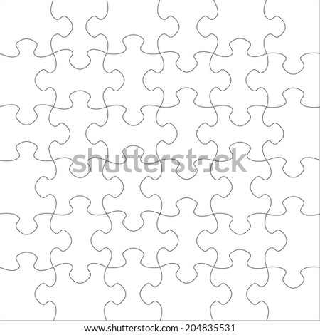 White blank puzzle of 36 elements. Vector. - stock vector