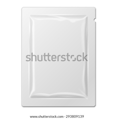 White Blank Retort Foil Packaging Medicine Drugs Or Coffee, Salt, Sugar, Pepper, Spices, Sachet, Sweets, Candy Or Condom. Isolated Mock Up Template Ready For Your Design. Product Packing Vector EPS10 - stock vector