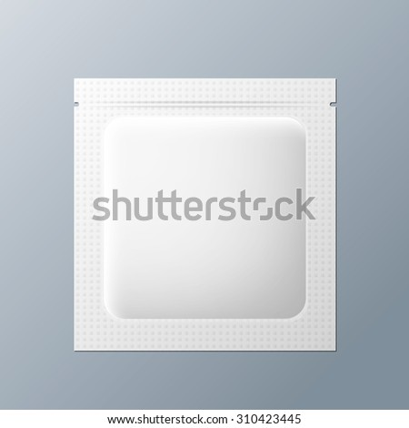 White blank sachet packaging cosmetics or medicine