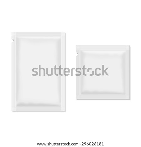 White blank sachet packaging  food, cosmetics or medicine. - stock vector