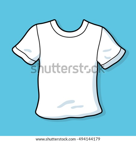White blank t-shirt template on a blue background.