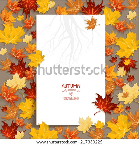 White blank with autumn maple leaves. Copy space - stock vector