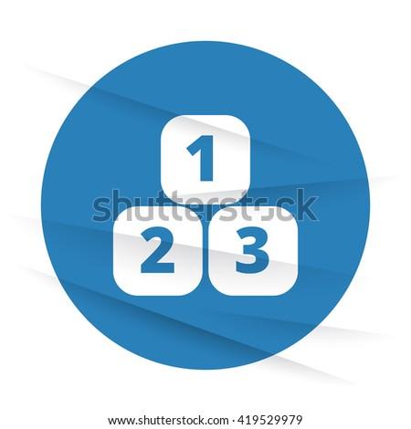 White 123 Blocks icon label on wrinkled paper - stock vector