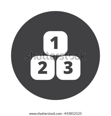 White 123 Blocks icon on black button isolated on white - stock vector
