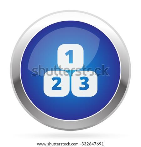 White 123 Blocks icon on blue web app button - stock vector