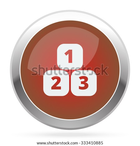 White 123 Blocks icon on red web app button - stock vector