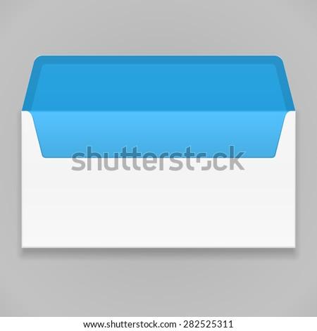 White Blue Blank Envelope. Illustration Mock Up Template Ready For Your Design. Vector EPS10 - stock vector