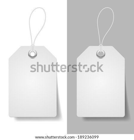 White blue price tags on white and grey background  - stock vector