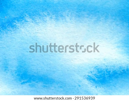 White blue watercolor hand drawn paper texture background. Wet brush strokes and smudges painted vector abstract illustration. Water sea banner. Design artistic card for scrapbook, wallpaper, template - stock vector