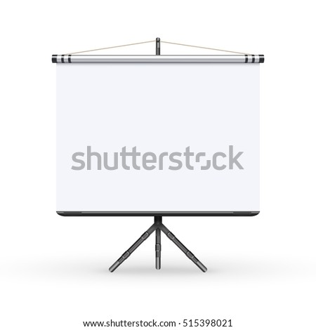 White board presentation conference meeting screen with tripod vector illustration. White board on tripod for conference and meeting, screen white boad presentation and showing illustration