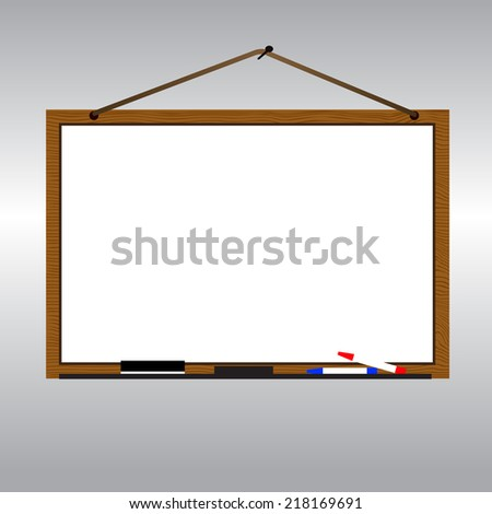 White board with rope hanging on nail - stock vector