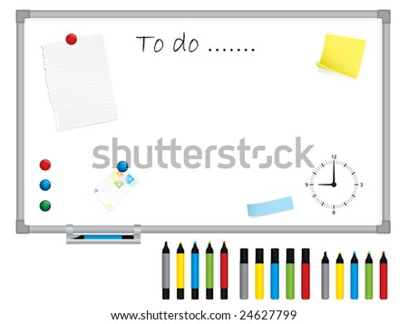 White board with stationery - stock vector
