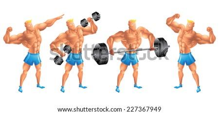 White bodybuilder in different poses set - stock vector