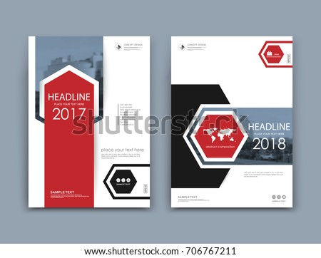 White book binder mockup. A4 brochure cover design. Title sheet model set. Modern vector front page art. Urban city house board. Red pentagon, hexagon frame, world map, logo icon. Ad flyer text font