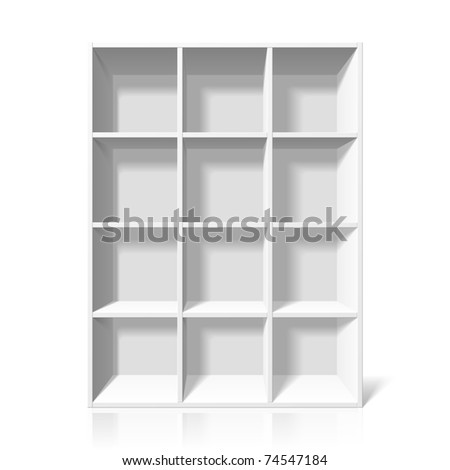 White bookshelf. Vector.