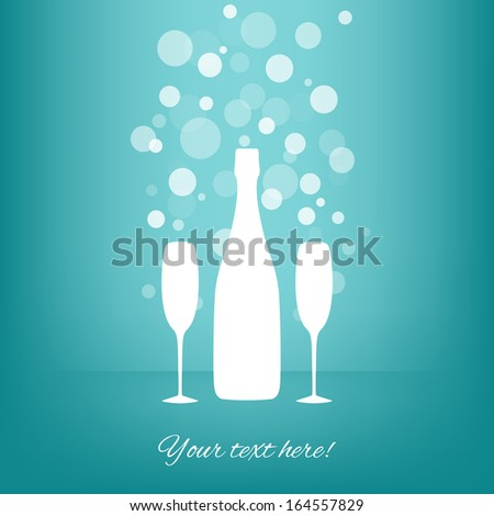 White Bottle and two glasses of champagne with transparent bubbles on blue background. Vector version. - stock vector