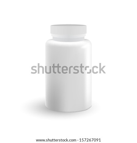 White bottle from pills. Isolated. Vector