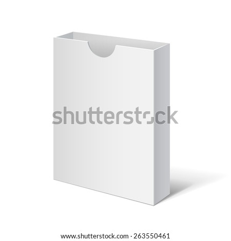 White box. Cardboard holder for brochures and flyers. Vector Illustration - stock vector