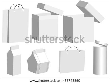 white box collection - stock vector