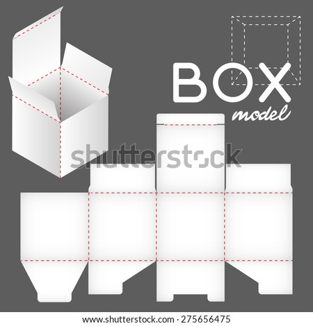white box model, package template - stock vector
