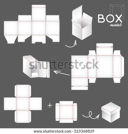 white box model, set of package templates - stock vector