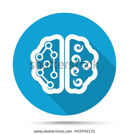 White Brain icon on blue button isolated on white - stock vector