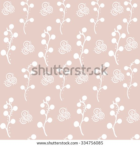 white branch on beige background vector pattern  - stock vector