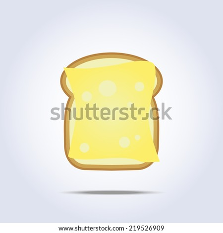 White bread toast icon with cheese. Vector illustration - stock vector