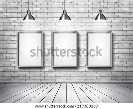 White brick show room with spotlights. Vector. - stock vector