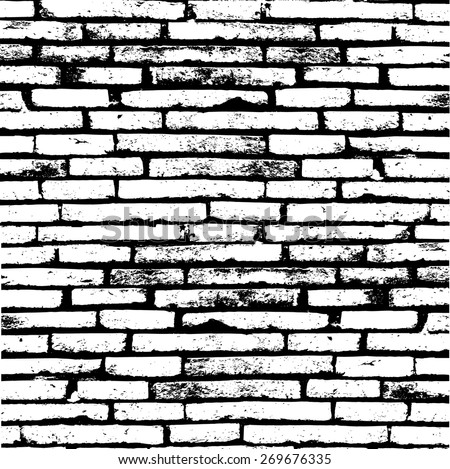 White brick wall for your backgrounds. - stock vector