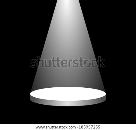 White bright reflector shining on an empty stage in the darkness. beam of light on the podium in the dark. vector art image illustration, isolated on black background, eps10 - stock vector