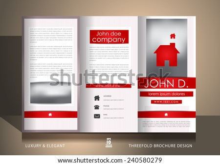 White brochure design with red ribbons - stock vector