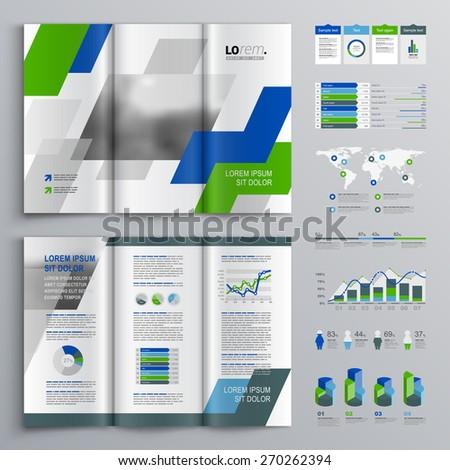 White Brochure Template Design Green Blue Stock Vector 270262394