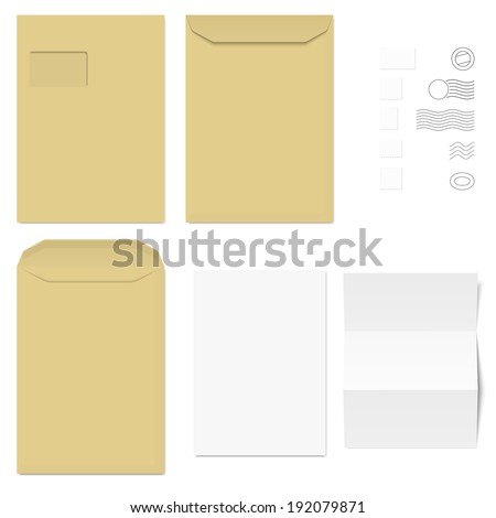 white + brown Envelopes / Writing Paper / Postage Stamps