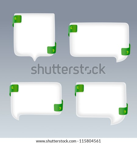 White Bubbles with Quote Marks on green Ribbons - stock vector